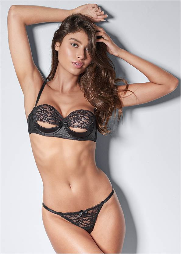 Cropped front view Unlined Lace Cut Out Bra