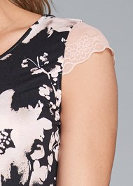 Detail front view Scalloped Lace Short Set