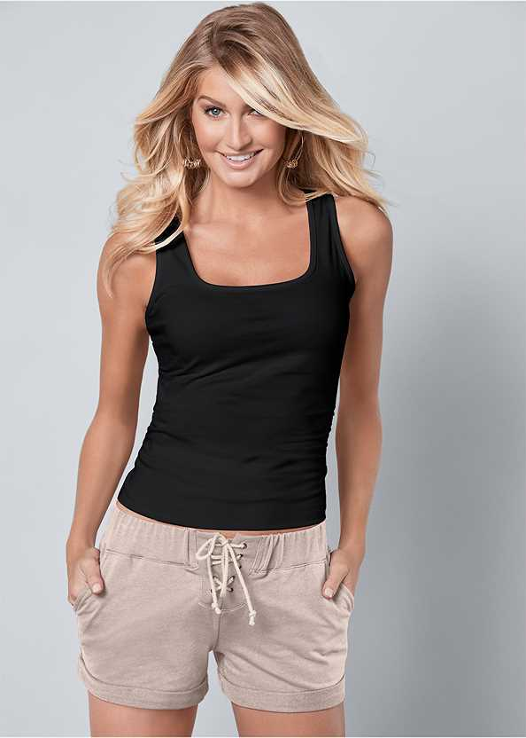 Square Neck Tank Top,Frayed Cut Off Jean Shorts,Mid Rise Color Skinny Jeans,Belted Cuffed Shorts