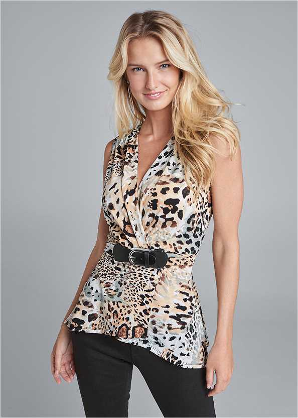 Animal Print Belted Top,Bum Lifter Jeans,Ankle Strap Cork Heel