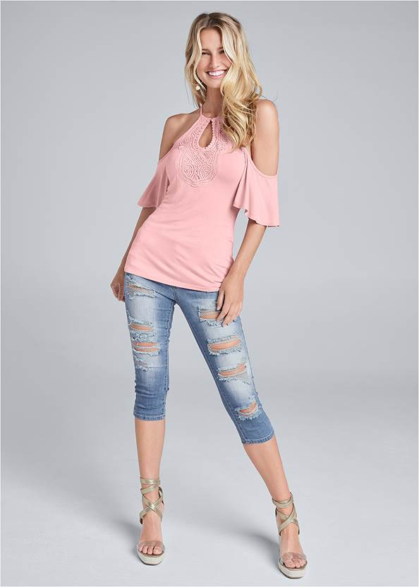 Full front view Cold Shoulder Keyhole Top