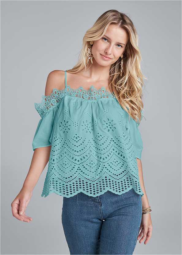 Cold Shoulder Eyelet Top,Mid Rise Color Skinny Jeans,Lucite Ankle Wrap Wedge,Beaded Dreamcatcher Earrings
