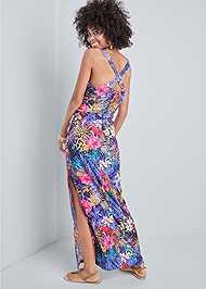 Full back view Mixed Print Maxi Dress