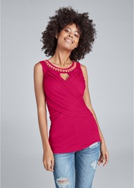 Front View Surplice Embellished Top