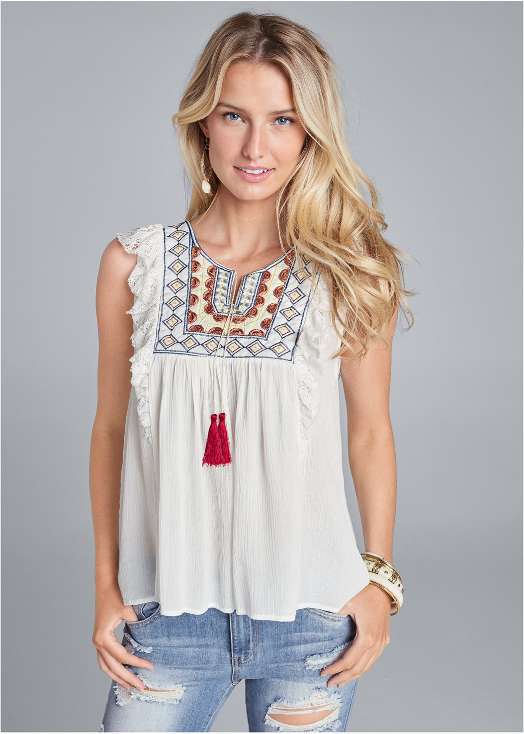 Embroidered Peasant Top,Distressed Jean Capris