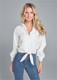Front View Button Up Tie Front Blouse