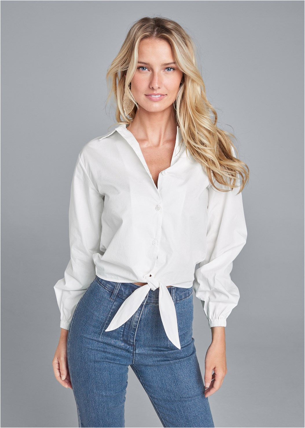 Button Up Tie Front Blouse