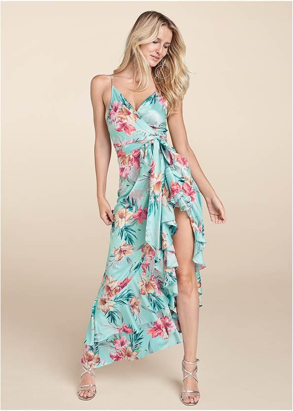 Floral Print Wrap Dress,Multi Strap Ankle Wrap Heels