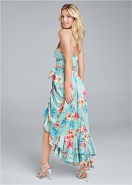 Back View Floral Print Wrap Dress