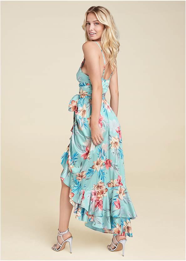 Back View Floral Print Wrap Dress