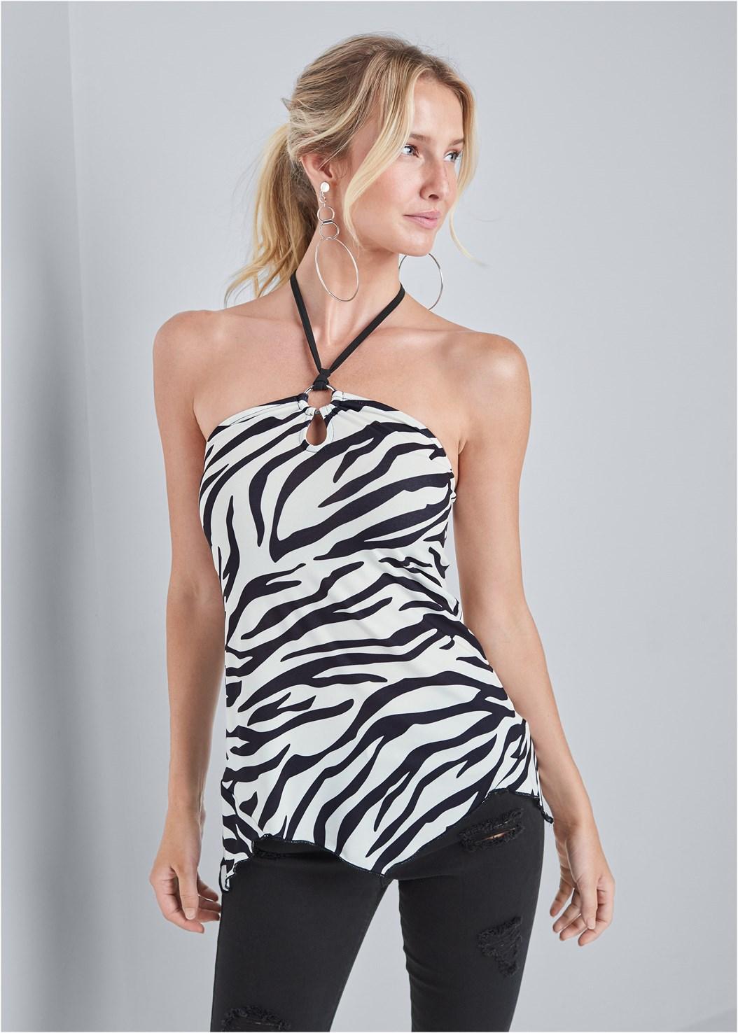 Tiger Print Tie Neck Top