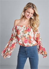 Front View Ruffle Sleeve Floral Top