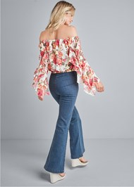 Back View Ruffle Sleeve Floral Top