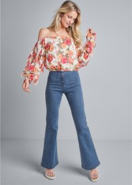 Full front view Ruffle Sleeve Floral Top