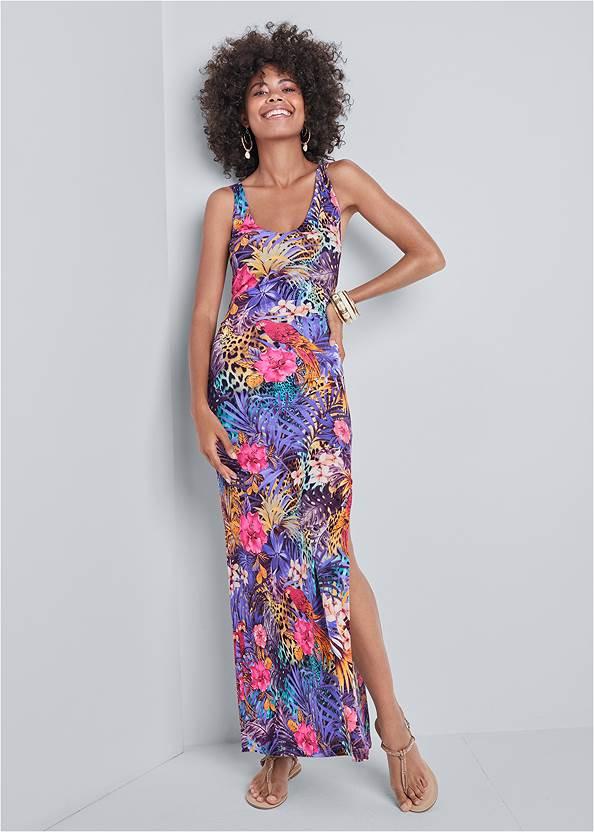 Mixed Print Maxi Dress,Boho Chandelier Earrings