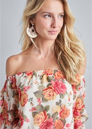 Alternate View Ruffle Sleeve Floral Top