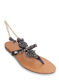Front View Jeweled Chain Strap Sandal