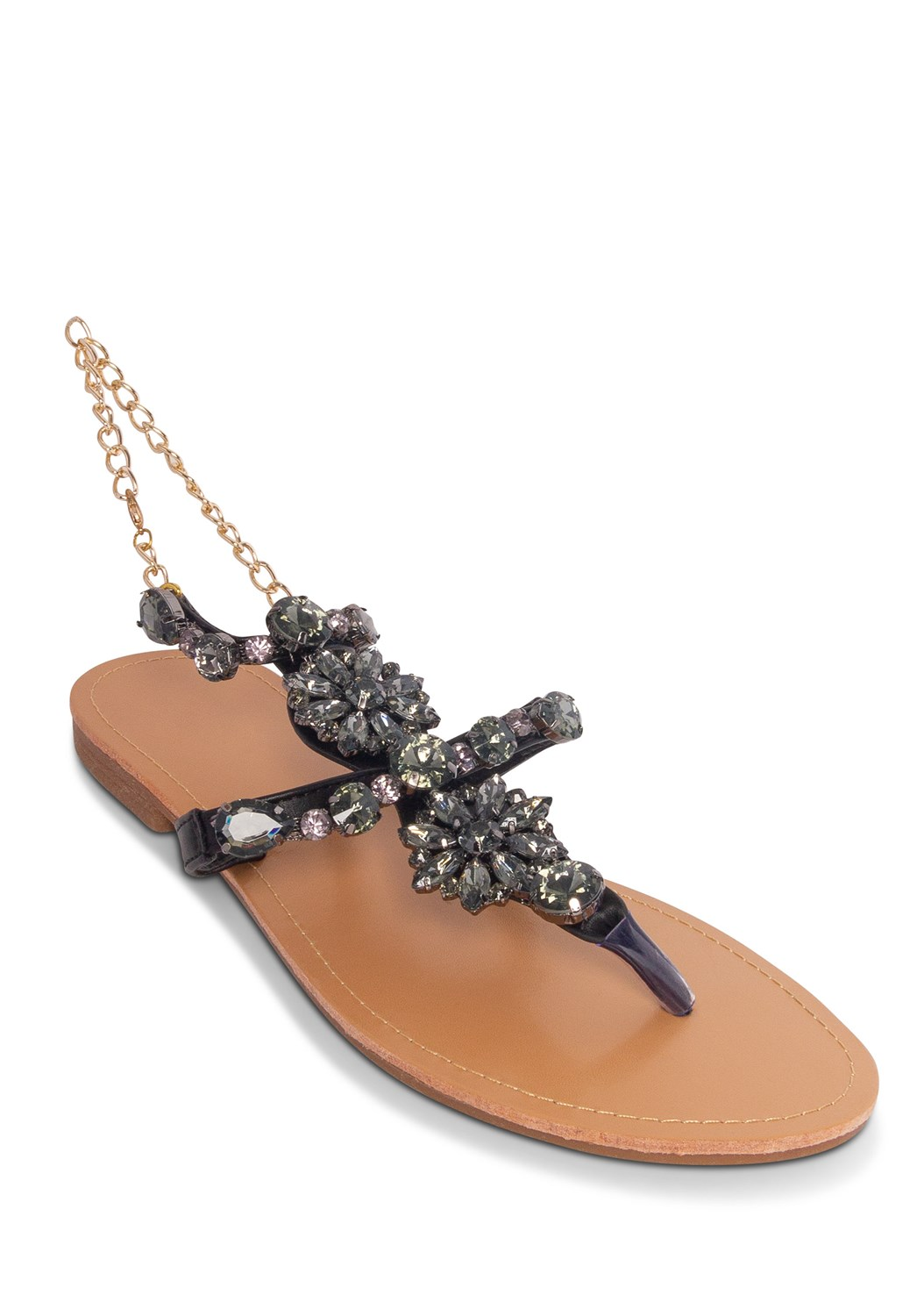 Jeweled Chain Strap Sandal