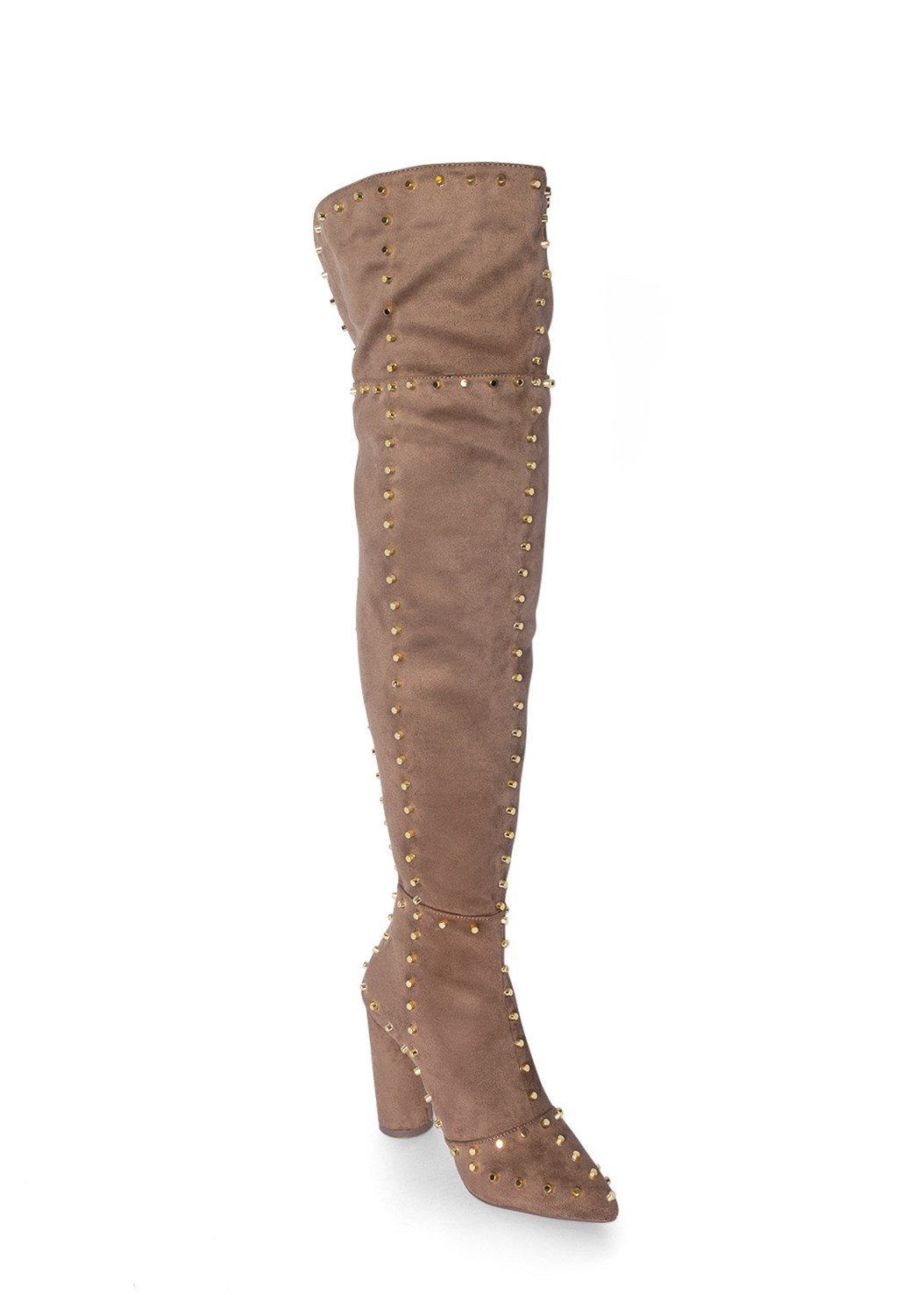 Studded Over The Knee Boots,Cross Front Maxi Sweater,Mid Rise Slimming Stretch Jeggings