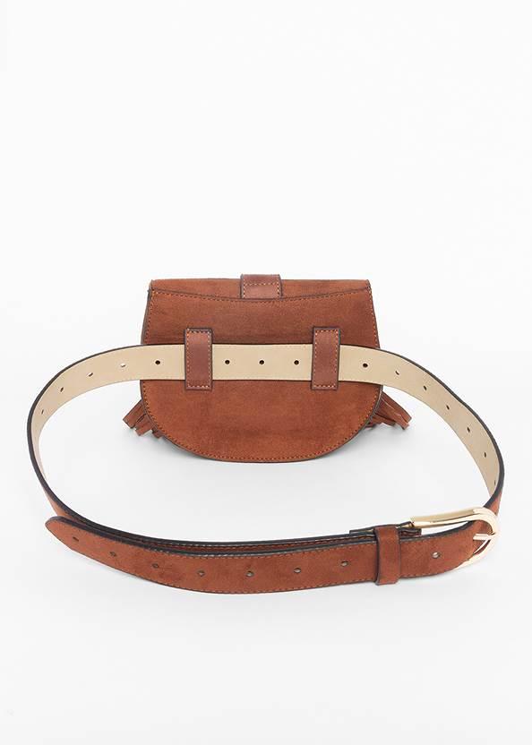 Back View Faux Suede Fringe Belt Bag