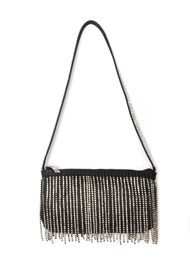 Flatshot front view Embellished Fringe Bag