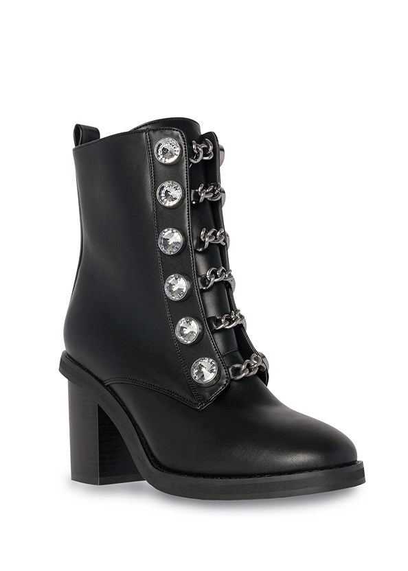 Embellished Combat Boots,Mid Rise Slimming Stretch Jeggings,Tiger Detail Earrings