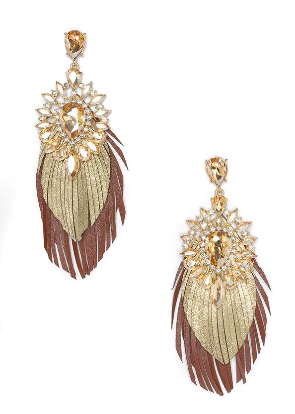 Embellished Fringe Earrings,Faux Suede Layer Necklace