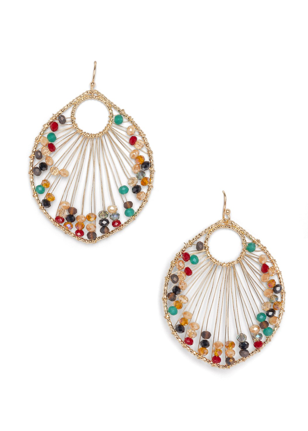 Beaded Leaf Shape Earrings,Cut Out Cold Shoulder Top