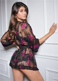 Back View Sheer Floral Robe