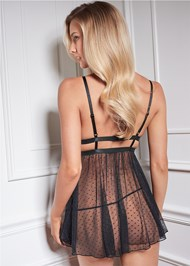 Cropped back view Lace And Swiss Dot Babydoll