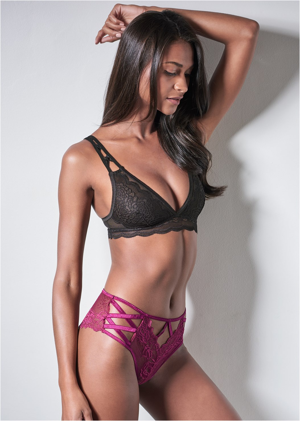 Strappy Detail Lace Panty,Lace And Mesh Bralette,Sheer Floral Robe