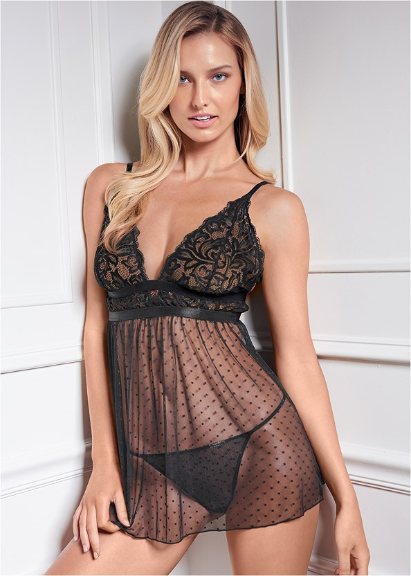Lace And Swiss Dot Babydoll