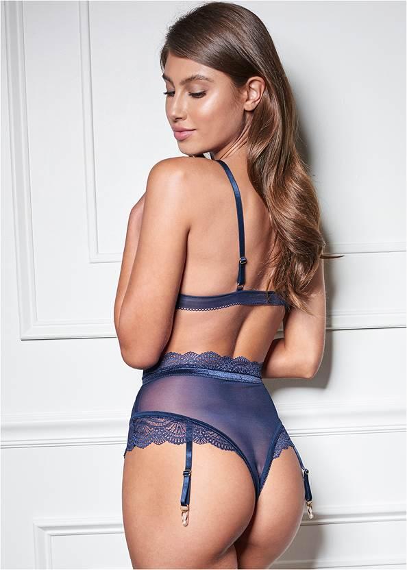 Cropped Back View Lace Bralette Thong Set