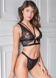 Cropped front view Lace Bralette And Thong Set