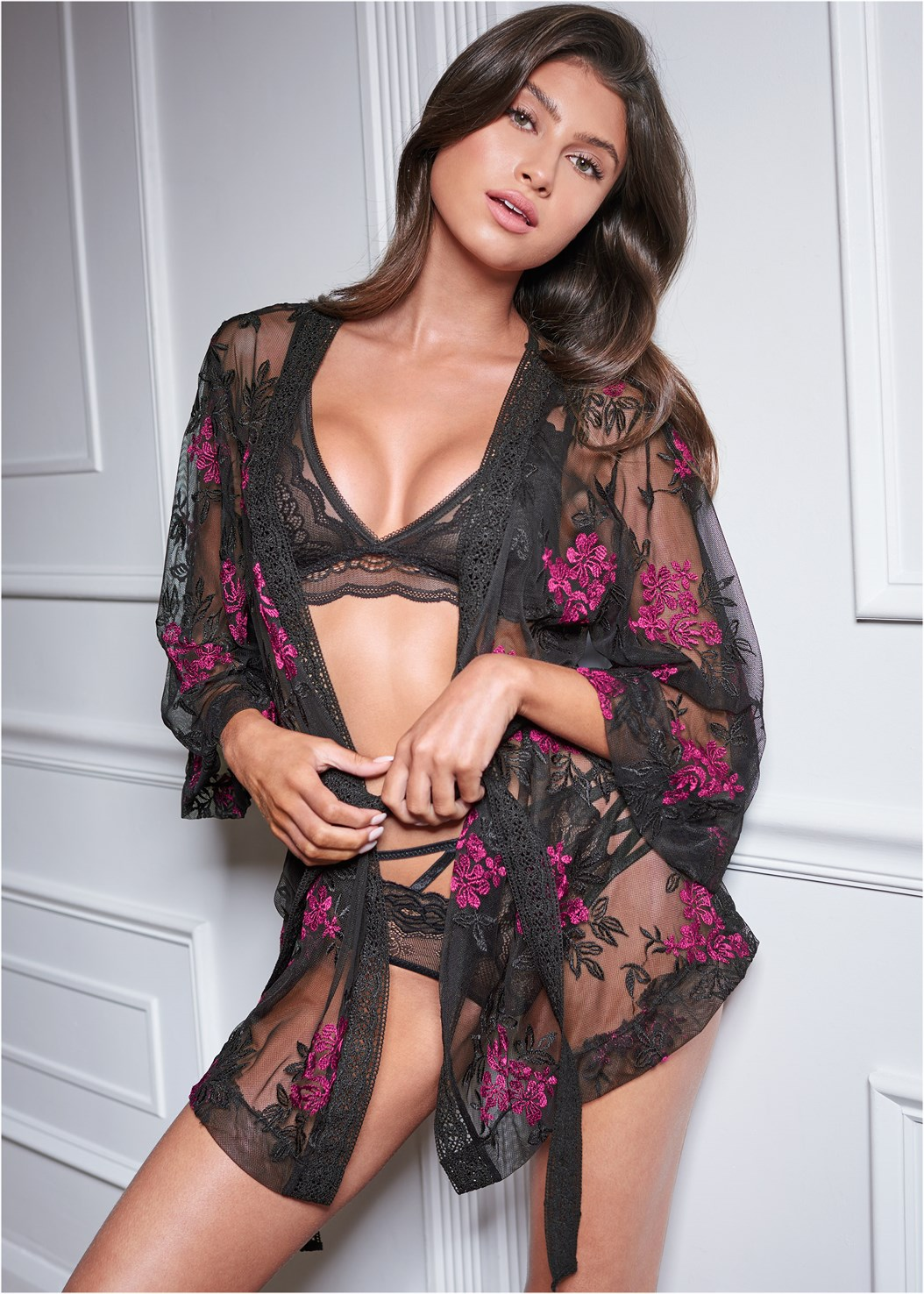 Sheer Floral Robe,Lace And Mesh Bralette,Strappy Detail Lace Panty,Strappy Plunge Bodysuit