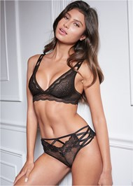 Cropped front view Strappy Detail Lace Panty
