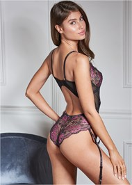 Back View Strappy Plunge Bodysuit