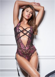 Front View Strappy Plunge Bodysuit