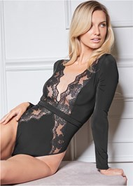 Alternate View Long Sleeve Lace Bodysuit