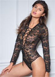 Front View Long Sleeve Lace Bodysuit