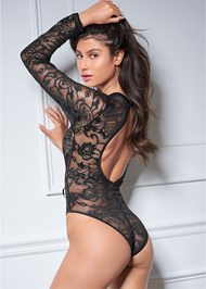 Back View Long Sleeve Lace Bodysuit
