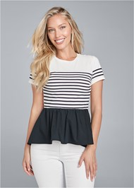 Front View Striped Peplum Top
