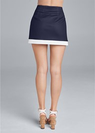 Back View Color Block Fashion Skort