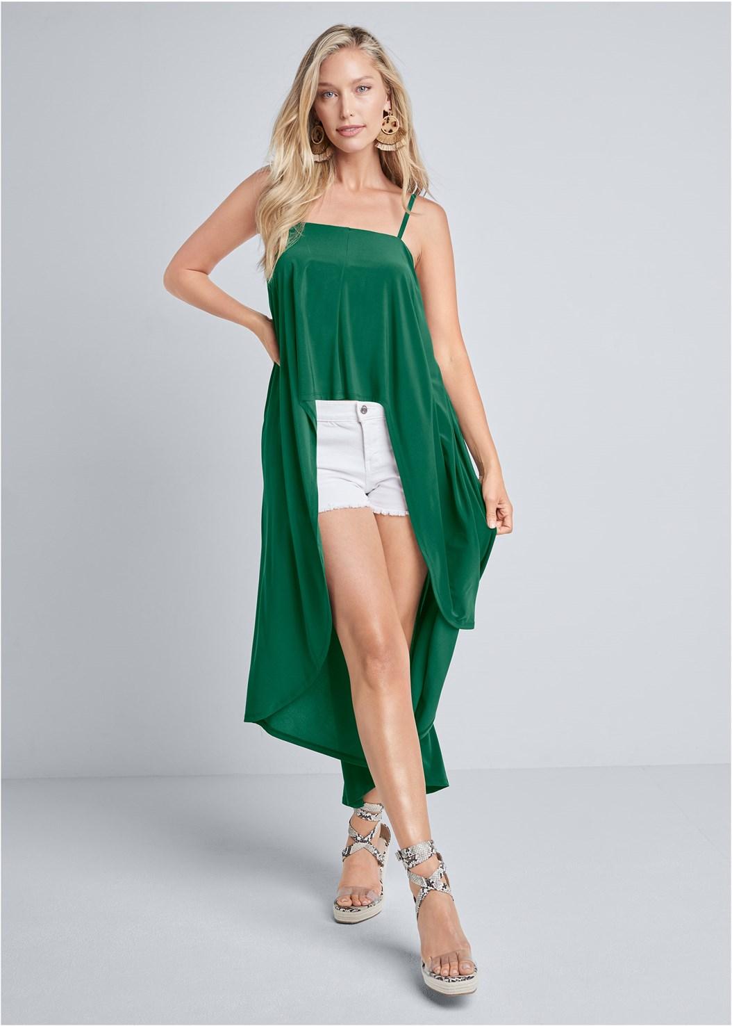 Sleeveless Maxi Top,Cut Off Jean Shorts