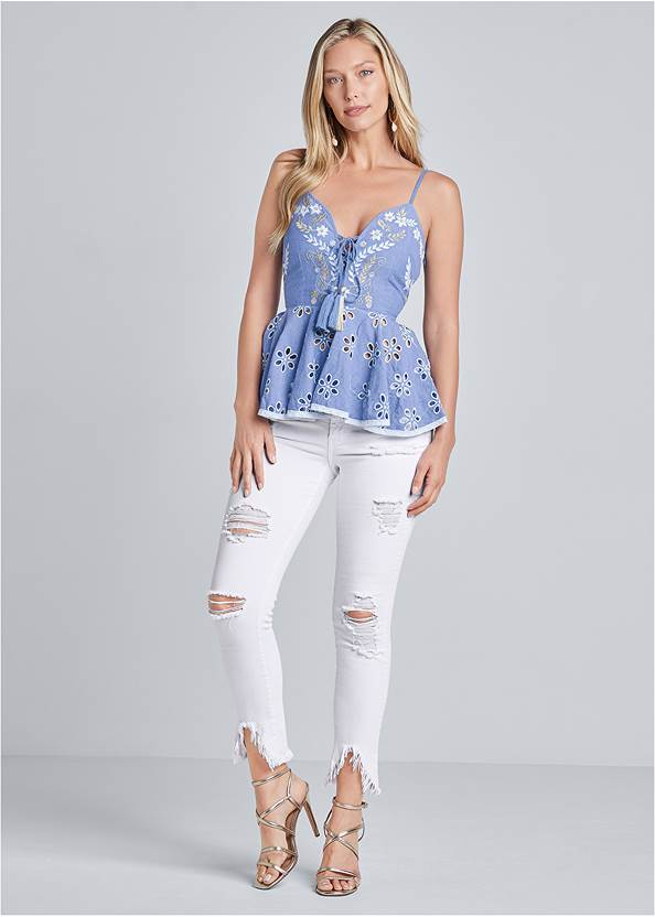 Alternate View Embroidered And Eyelet Peplum Top