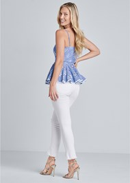Back View Embroidered And Eyelet Peplum Top
