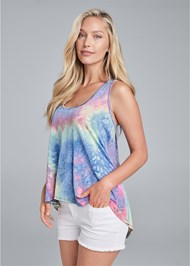 Front View Tie Dye Sleeveless Top