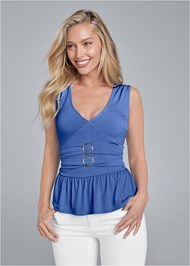 Front View Ring Detail Peplum Top