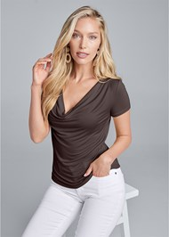 Front View Cowl Neck Casual Top