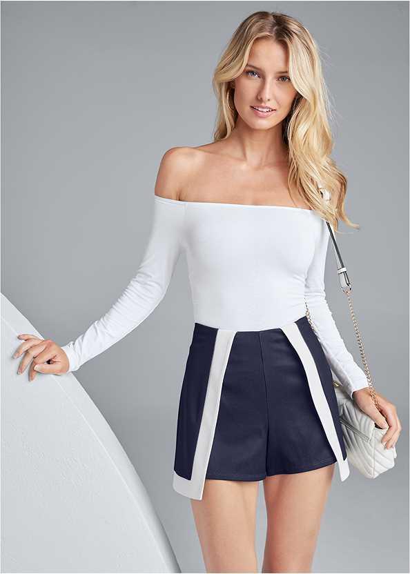 Color Block Fashion Skort,Off The Shoulder Top,Ankle Strap Cork Heel,Double Strap Cork Wedge